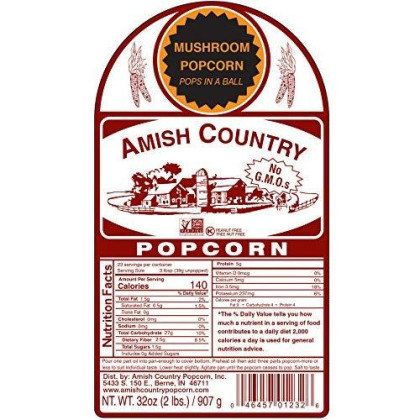 Amish Country Popcorn - Mushroom Popcorn (6 Pound Bag) With Recipe Guide - Old Fashioned, Non Gmo, Gluten Free, Microwaveable, Stovetop And Air Popper Friendly - 1 Year Freshness Guarantee