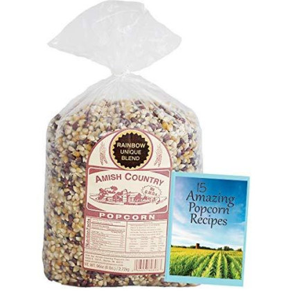 Amish Country Popcorn -Rainbow Popcorn (6 Pound Bag) With Recipe Guide - Old Fashioned, Non Gmo, Gluten Free - 1 Year Freshness Guarantee