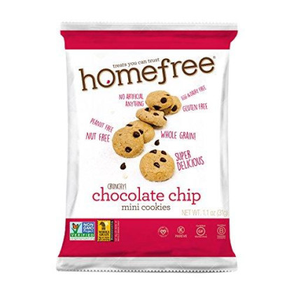 Homefree Treats You Can Trust Gluten Free Mini Chocolate Chip Cookie, Single Serve Bag, 1.1 Ounce (Pack Of 10)