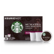 Starbucks Sumatra Dark Roast Single Cup Coffee For Keurig brevers, 10 Count