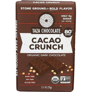 Taza Chocolate | Amaze Bar | Cacao Crunch | 80% Stone Ground | Certified Organic | Non-Gmo | 2.5 Ounce (1 Count)