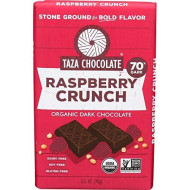 Taza Chocolate | Amaze Bar | Raspberry Cacao Nib Crunch | 60% Stone Ground | Certified Organic | Non-Gmo | 2.5 Ounce (1 Count)