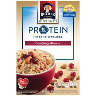 Quaker Instant Oatmeal, Select Starts, Protein, Cranberry Almond, Breakfast Cereal, 6 Packets Per Box