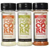 Urban Accents All Natural Gluten Free Premium Popcorn Seasoning Variety Pack: (1) Sizzling Sriracha Popcorn Seasoning, (1) White Cheddar Popcorn Seasoning, And (1) Tangy Dill Pickle Popcorn Seasoning, 2.25-2.6 Oz. Ea.