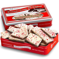 Traditional Layered Dark And White Chocolate Peppermint Bark In Christmas Gift Tin