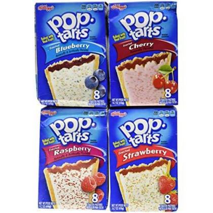 Pop Tarts Variety Pack, Frosted Fruit Flavors: Strawberry, Blueberry, Cherry, And Raspberry. Bundle Of 4-8 Count Boxes, 1 Of Each Flavor. Great Care Package Or Gift