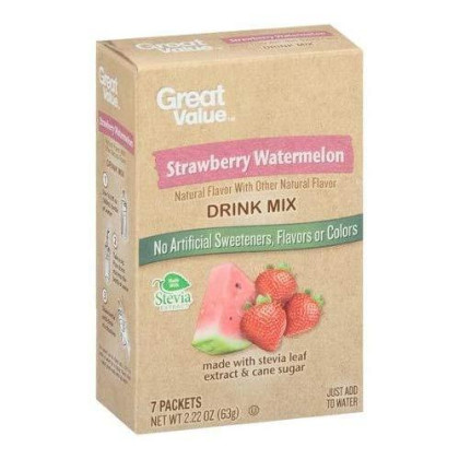 Great Value Strawberry Watermelon Drink Mix 7 Packets (Pack of 6)