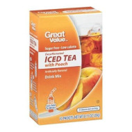 Great Value Sugar Free, Low Calorie Decaffeinated Iced Tea With Peach Drink Mix (Pack Of 4)