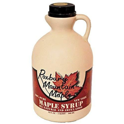 Organic Grade A Dark Maple Syrup, Roxbury Mountain Maple, 32 Ounces