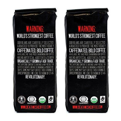 Death Wish Ground Coffee Bundle Deal, The World'S Strongest Coffee, Fair Trade And Usda Certified Organic - 2 Lb