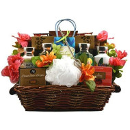 Just Beachy, Tropical Spa And Gourmet Gift Basket - A Summer Gift Basket For Women - Bring The Tropics To Her In A Relaxing Spa Basket