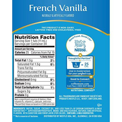 Coffee-Mate Coffee Creamer Liquid Singles, French Vanilla, 24 Count (Pack Of 4)