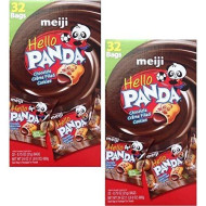 Meiji Hello Panda Chocolate Creme Filled Cookies, Box Of 32 - 0.75 Oz Bags (Set Of 2)