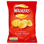 Walkers Crisps - Ready Salted (32.5G) - Pack Of 6