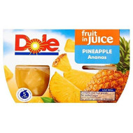 Dole Fruit Bowls Pineapple In Juice (4X113G) - Pack Of 2