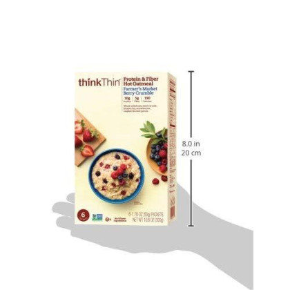 Oatmeal Packets by thinkThin, Instant Protein & Fiber Hot Oatmeal for On The Go- 10g Protein, 5g Fiber, Kosher - Farmer's Market Berry Crumble, 1.76 oz Packets (6 Boxes/6 Packets Per Box)