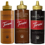 Torani 16.5Oz Seasonal 3-Pack Sampler, Pumpkin Pie, Salted Chocolate Caramel & Chocolate Sauces