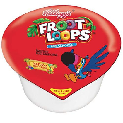 Kellogg's Froot Loops, Breakfast Cereal In A Cup, Reduced Sugar, Bulk Size, 96 Count (Pack Of 96, 1 Oz Cups)