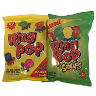 Two 2.0 Oz Size Bags Of Ring Pops (8 Ring Pops Total) Sour & Regular Flavors