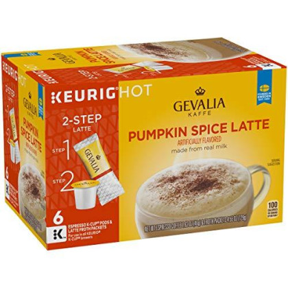 Gevalia Pumpkin Spice Latte, Espresso K-Cup Pods And Latte Froth Packets, 6 Count