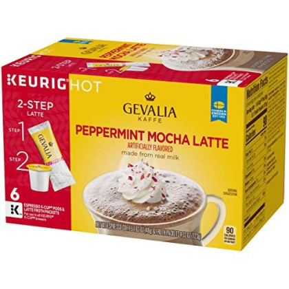 Gevalia Peppermint Mocha Latte, Espresso K-Cup Pods And Latte Froth Packets, 6 Count