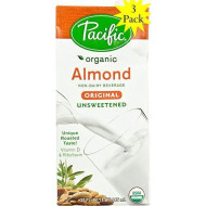 Pacific Beverages Unsweetened Almond Original, Gluten Free, 32-Ounces (3 Pack)