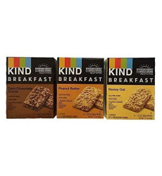 Kind Breakfast Bar Variety Bundle: Dark Chocolate Cocoa, Peanut Butter, Oats 'N Honey (1 Box Of Each)