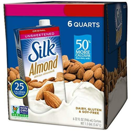 Silk Almond Milk Unsweetened Original 32 Oz (Pack Of 6) Shelf Stable, Unsweetened, Unflavored Dairy-Alternative Milk, Organic, Individually Packaged