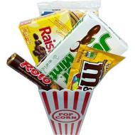 Movie Night Popcorn And Candy Gift Basket ~ Includes Movie Theater Butter Popcorn And Concession Stand Candy (Junior Mints)