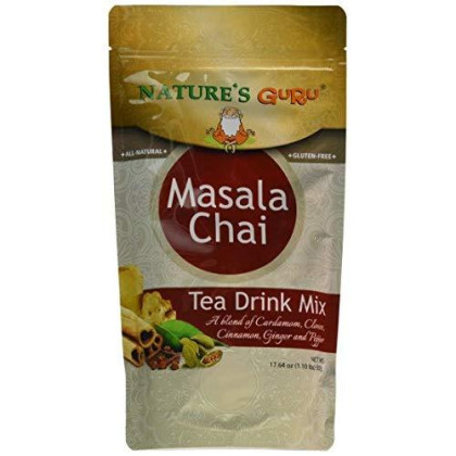 Nature'S Guru Instant Masala Spice Chai, Sweetened, 500 Gram (Pack Of 8), Convenient On-The-Go Instant Hot Chai Mix In Single Serve Packets, All Natural, Just Add Hot Water And Stir