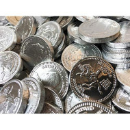 "Silver Bulk Dutch Milk Chocolate Coins, 5 Pounds, 700 Coins, 1.125"" Each, Us Quarters"