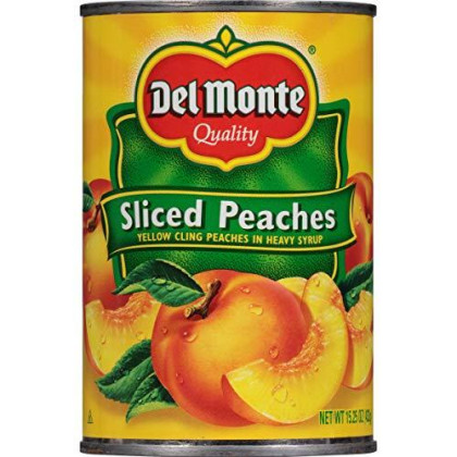 Del Monte Canned Yellow Cling Sliced Peaches in Heavy Syrup, 15.25-Ounce (Pack of 12)