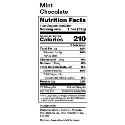 Rxbar Whole Food Protein Bar, Mint Chocolate, 1.83 Ounce (Pack Of 12)