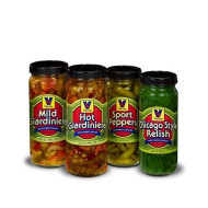 Vienna Condiment Variety 4-Pack (1 Jar Hot Giardiniera, 1 Jar Mild Giardiniera, 1 Jar Sport Peppers, 1 Jar Bright Green Relish)