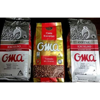 Roasted Coffee Beans Oma Excelso 500 Gr /17.6Oz 100% Colombian Arabia Coffee Beans