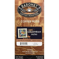 Baronet Coffee 50/50 Regular And Decaf 100% Colombian Coffee Pods, 54 Count