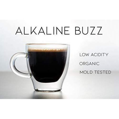 Alkaline Buzz - Brain Enhancing Whole Bean Espresso Roast - 100% Organic Low acdity Coffee - Heightens Mental Acuity, Improves Memory & Focus - Impossibly Delicious! (16 Oz)