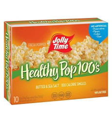 Jolly Time Healthy Pop Butter Mini Bags | 100 Calorie Microwave Popcorn Single Serve Bags, Low Fat Individual Snack Size (10-Count Box, Pack Of 3)
