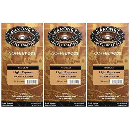 Baronet Coffee Single Espresso Light Ese Pods, 54 Count