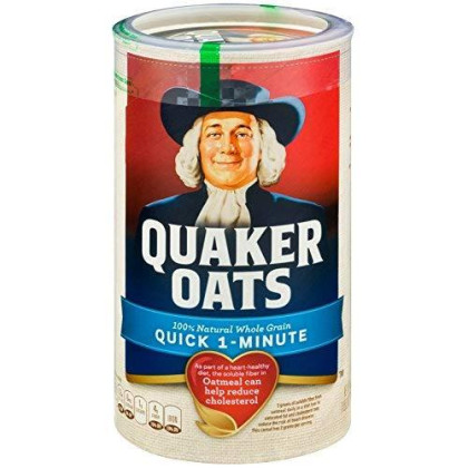 Quaker Oats Quick 1 Minute, 18 Oz Canister (Pack Of 8)