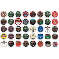 40 Count K Cup 2.0 Variety Sampler Pack - 40 Dark And / Or Bold K Cups For 2.0 And 1.0 brevers - Green Mountain, Folgers, Martinson, Peet'S, Lavazza, Cafe Bustello, Coffee People