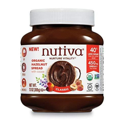 Nutiva Certified Organic, Non-Gmo, Vegan Hazelnut Spread With Cocoa, Chia And Flaxseed, Classic Chocolate, 13-Ounce