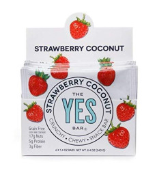 Strawberry Coconut - Gourmet Gluten-Free, Low Sugar, Paleo Snack Bar (Pack Of 6)