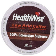 Healthwise Low acd Coffee For Keurig K-Cup brevers, 100% Colombian Supremo, 12 Count