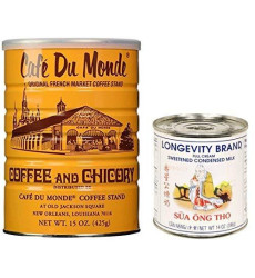 Powermedley Cafe Du Monde Coffee And Longevity Brand Condensed Milk (Pack Of 2)