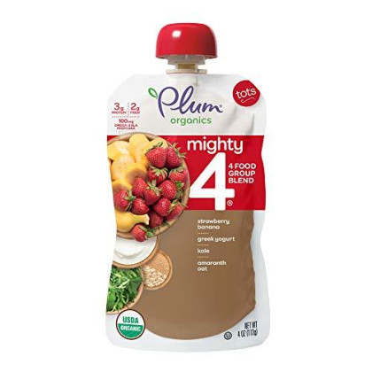 Plum Organics Mighty 4, Organic Toddler Food, Variety Pack, 4 Ounce (Pack Of 18) (Packaging May Vary)
