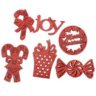 """Elegant Fancy Shatterproof Sparkling Shimmering Christmas Glitter Holiday Variety Shaped Ornaments (Candy Canes, Merry Christmas, Candy, Gift And Joy), Red, Medium, 36 Count, 6"""""""