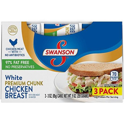 Swanson White Premium Chunk Chicken Breast with Rib Meat in Water, 3 oz, (Pack of 3)