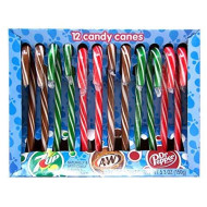 Dr. Pepper, 7 Up, And A&Amp;W Flavored Christmas Candy Cane, Pack Of 12, 5.3 Oz