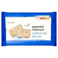 Malted Milk Biscuits essential Waitrose 400g (Pack of 4)
